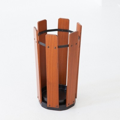 Italian Teak & Iron Umbrella Holder, 1950s