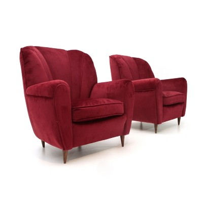 Pair of Italian mid-century red velvet armchairs, 1940s