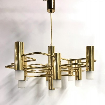 Brass Sciolari chandelier with 9 lightpoints, 1970s