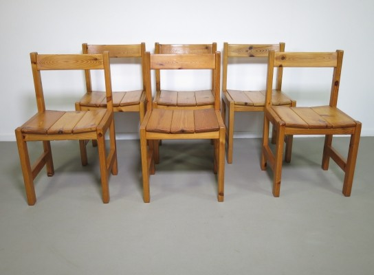 Set of 6 pinewood dining chairs, 1970s