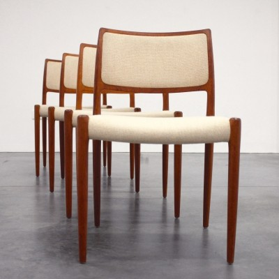 Set of 4 Danish Teak 'Model 80' Dining Chairs by Niels Otto Møller, 1960s