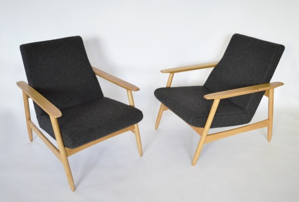 Pair of Dark Felt & Oak Armchairs by Valerija Ema Cukermanienė, 1960s