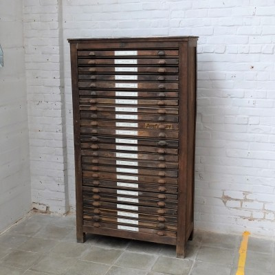 Antique printing press drawer cabinet