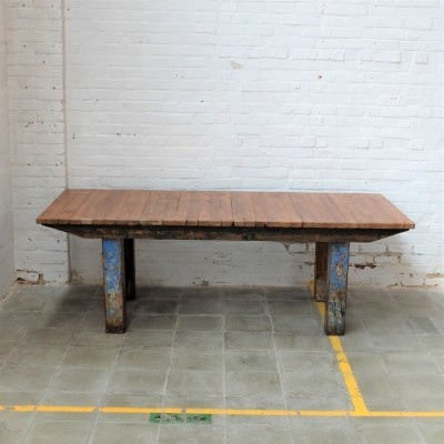 Big vintage industrial walnut table