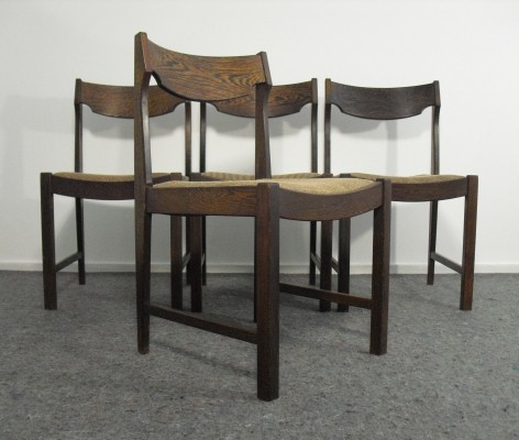 Set of 4 Vintage Wenge Dining Chairs, 1970's