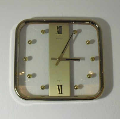 Vintage Square Seiko Quartz Wall Clock, 1970's