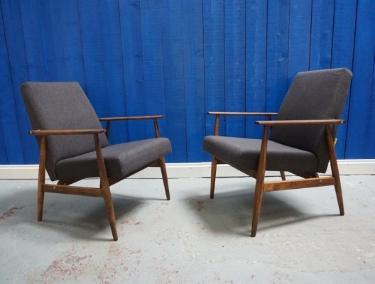 Pair of H. Lis Mid Century Armchairs in Dark Grey from 1970s