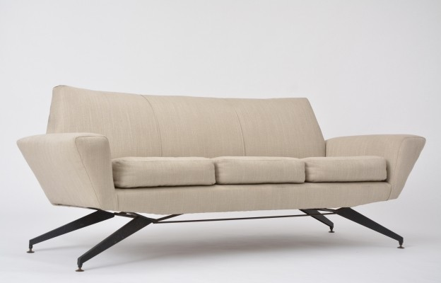 Italian Sofa with Metal Base by Lenzi, 1950s