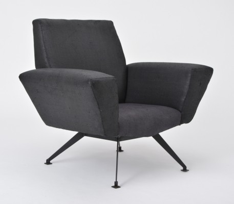 Vintage Black Italian Lounge Chair Mod. 548 by Lenzi