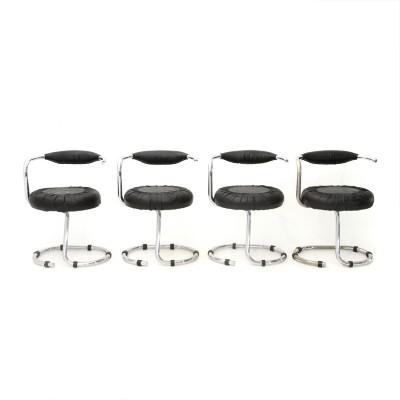 Set of 4 Chromed metal chairs by Giotto Stoppino, 1970s