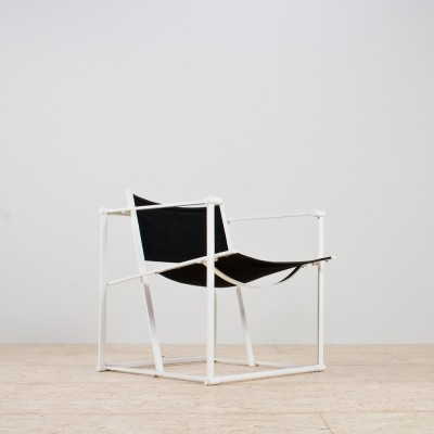 Minimalist Armchair in Black & White by Radboud Van Beekum for Pastoe, 1981