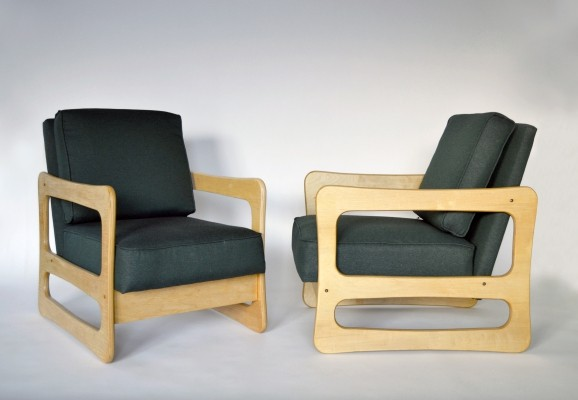 Pair of 'Vesta' arm chairs by Brigita Adamonienė, 1970s