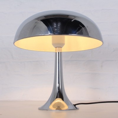 Rare Louis Kalff chromed mushroom lamp