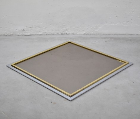 Smoked glass square mirror by Belgo Chrom, Belgium 1970's