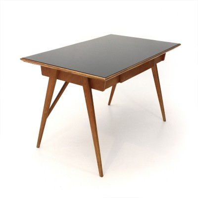 Italian mid-century desk with black glass top, 1950s