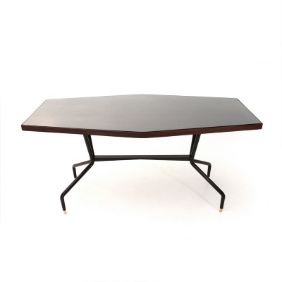 Table with teak & glass top, 1950s