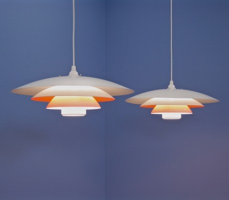 Set of 2 XL danish pendants in white with terra accent by Form Light, 1960s