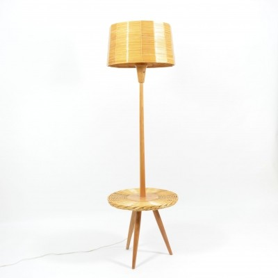 Floor Lamp made from Wood And Cane By Krásná Jizba, 1970s