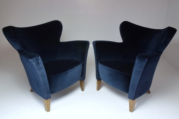 French Pair of 20th Century Vintage Armchairs, 1980's