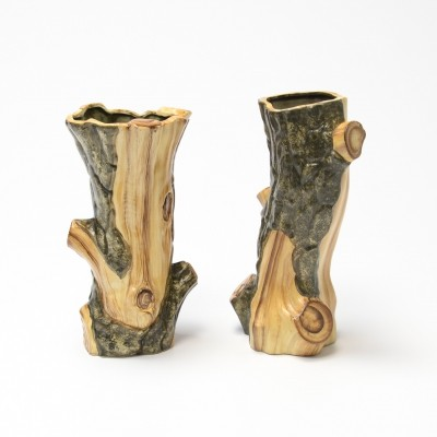 Decorative Pair of Faux Bois Vases for Cérart, 1950s