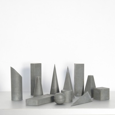 Decorative Set of 12 Zinc Geometric Models