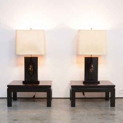 Impressive Pair of Black Lacquered Table Lamps by Jean Claude Dresse