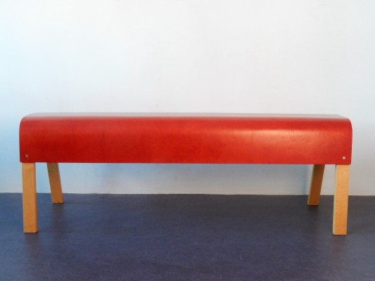 Red plywood Ikea bench, Sweden 1990's