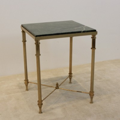 Luxurious French Marble & Brass Side Table, 1960s