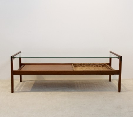 Dutch Teak Coffee Table with Wicker inlay, 1960s