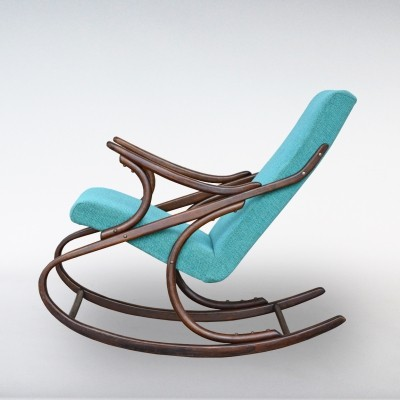 Turquoise Rocking Chair from TON, 1950s