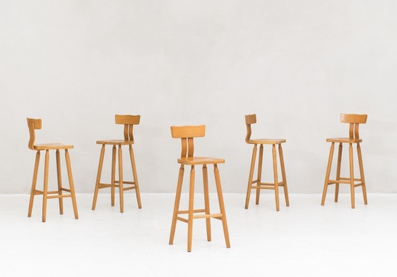 5 bar stools in birch produced in the Netherlands, 1960