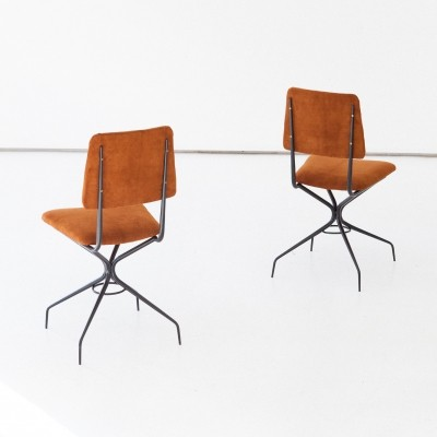 Pair of Italian Natural Suede Leather & Iron Chairs, 1950s