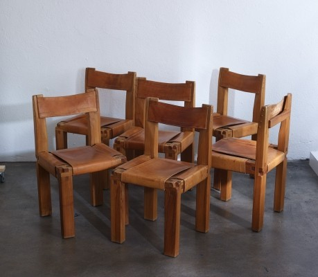 6 Wood chairs model 'S11' by Pierre Chapo