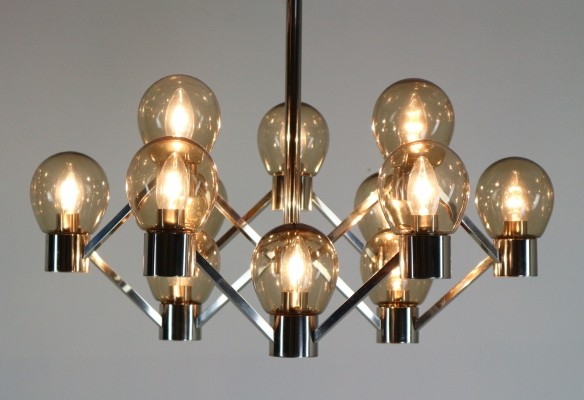 Chrome & Smoked Glass Geometric Chandelier, 1970s