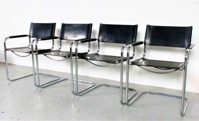 Set of 4 Cantilever black leather Chairs by Mart Stam for Fasem
