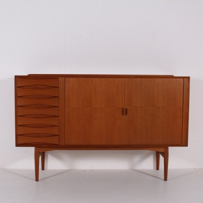 Tambour teak highboard model OS 63 by Arne Vodder for Sibast