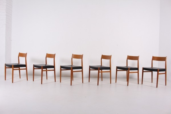 Set of 6 'model 418' teak chairs by Arne Vodder for Sibast