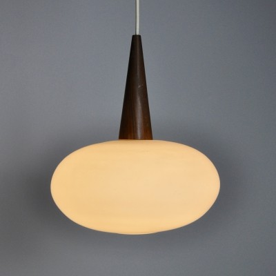 Opaline Glass & Teak Pendant Lamp by Louis Kalff for Philips, 1960s