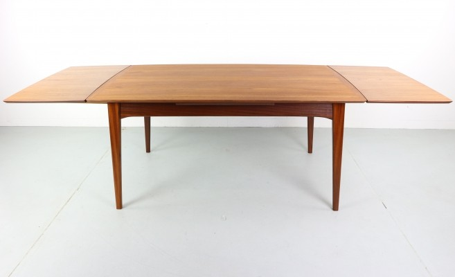 Large Extendable Teak Dining Table by Louis Van Teeffelen for Webe, 1950s