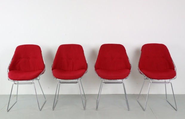 Set of 4 Cees Braakman for Pastoe SM05 Wire Chairs