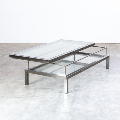 Metal & Glass French Maison Jansen Sliding Coffee Table