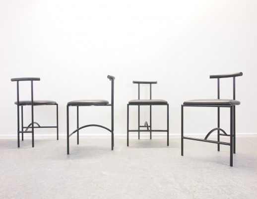 4 black Italian design 'Tokyo' chairs by Rodney Kinsman for Bieffeplast