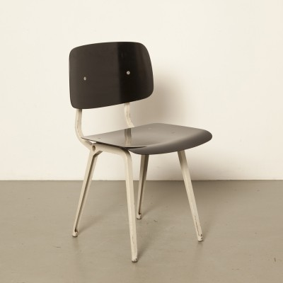 Original Revolt chair by Friso Kramer for Ahrend in black with light grey frame
