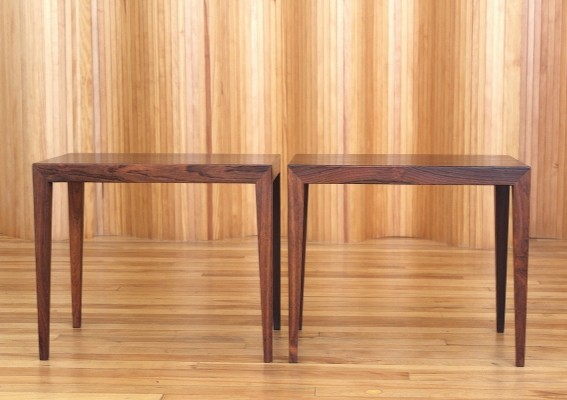Pair of Severin Hansen rosewood side tables by Haslev Denmark