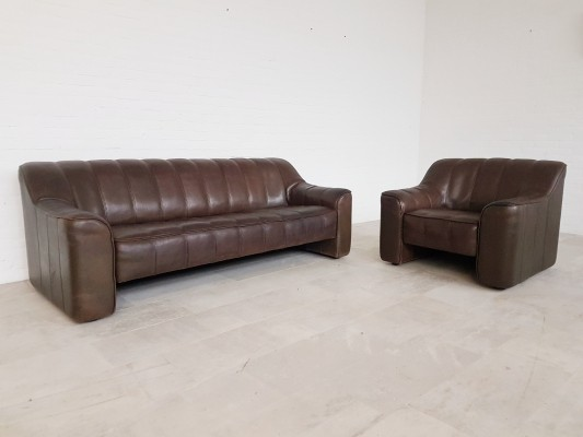 De Sede DS44 seating group in brown saddle leather, 1970s