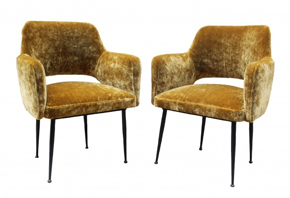 Pressed Brass Velvet Italian Design Armchair, 1950s