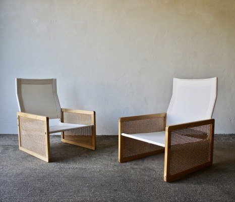 Pair Of 1970's Cane & Canvas Lounge Chairs by Habitat