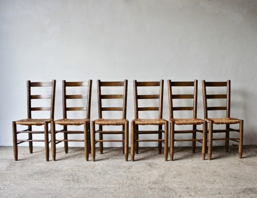 Set of 6 Charlotte Perriand Number 19 Dining Chairs