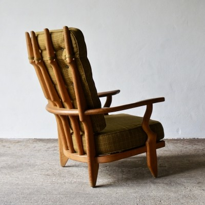 1960's Guillerme Et Chambron High Back Lounge Chair