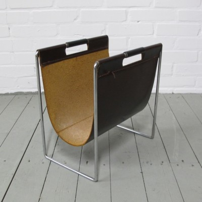 Mid-Century Brabantia Magazine Rack in Leather & Chrome, 1970s